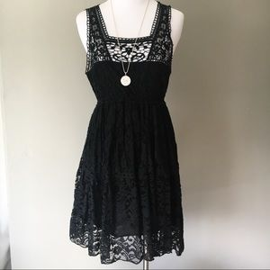 Pinky Black Lace Cocktail Party Dress